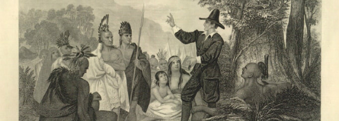 Etching of John Eliot speaking to the Indians